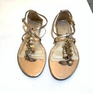 Tahari RAY Sandals With Beads& Pearls, Gold Size 9